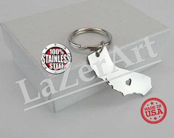 Brushed Stainless Steel (316) I heart California Keychain made in USA