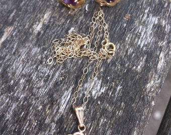 Vintage Amethyst and 9ct gold necklace and earrings set