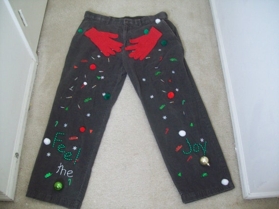Ugly Christmas Sweater Corduroy Pants Men Size Feel The Joy