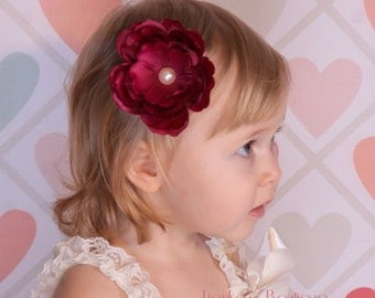 Burgundy / Wine Ruffled Ranunculus Flower Hair Clip Burgundy Flower Hair Clip