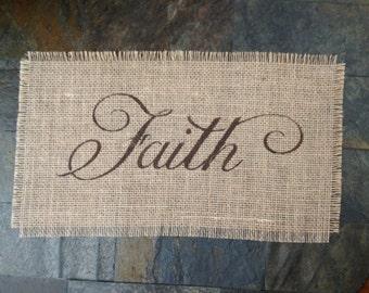 Primitive Natural Jute Burlap Faith Sign Panel Banner Applique