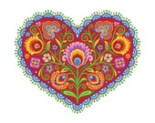 "Polish Floral Botanical Folk Art Print Wycinanki Giclee ""Joyful Heart"" Papercut Style Flower Gift 8 x 10 or 11 x 14 Housewarming"