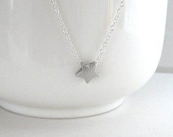 Silver Star Necklace, Brushed Star Necklace, Tiny Silver Star Necklace, Textured, Delicate Silver Necklace - Sterling Silver Chain