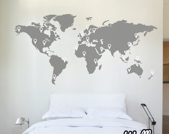 150cm World Map Decal Wall Sticker Stencil Bedroom Globe Office