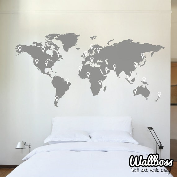 150cm world map decal wall sticker stencil bedroom globe free shipping removable wall sticker butterfly vine flower