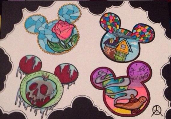 Character Design Tips Tattoo : Items similar to disney tattoo designs art on etsy
