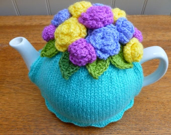Floral Hand Knit Tea Cosy - Turquoise