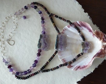 Amethyst druzy slices - Tourmaline rounds - Flourite beads - carved silver beads - three strand necklace with silver chain - Amethyst Waves