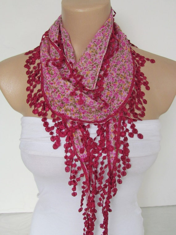 on sale pink and green flowered scarf with fuchsia fringe new