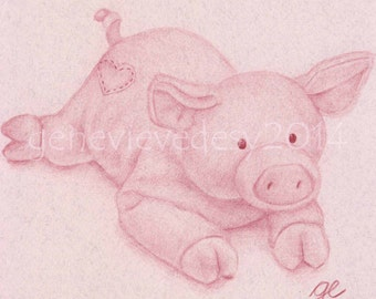 8x10 Print - Plush Pig Art Print - Nursery Art Print - Kids Wall Art - Nursery drawing, 8 x 10 in
