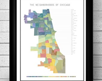 Chicago Neighborhood Map - Digital Poster Print