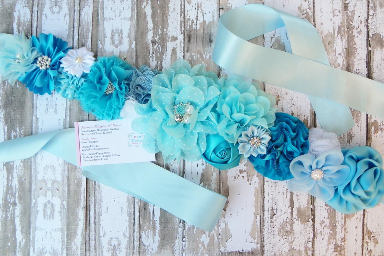 sash blue flower sash its a boy gender reveal sash baby shower