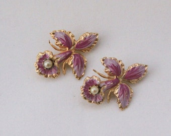 Lavender and Fushia Orchid Scatter Pins with Faux Pearls 1050s