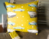 Exclusive Decorator Pillow Classic Cars with Hand Crafted back Buttons Retro Mustard Yellow