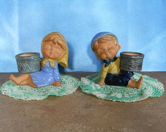Country Kids Ceramic Votive Candle Holders