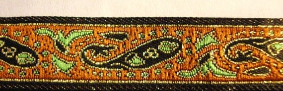 Embroidered Woven Fabric Trim - Paisley-like Flourish design for Costumes,Sewing,Crafting,Decor - sienna brown,black, green, metallic golds