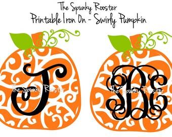 Personalized Printable Iron On - Swirly Pumpkins FALL, HALLOWEEN