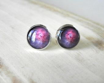 Space stud earrings, resin, Silver