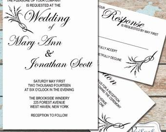 Instant Download Invitation Set - Love Affair