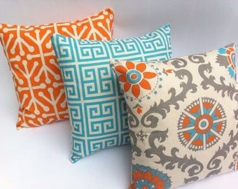 Turquoise and Orange Decorative Zippered Pillow Covers Set of Three Turquoise Blue and Orange Pillow Pinterest pillow covers fits 18x18 Inch