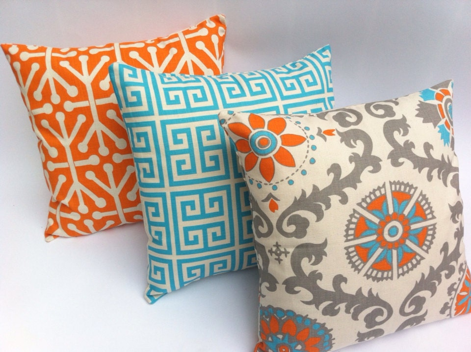 Turquoise and Orange Decorative Zippered Pillow Covers Set of