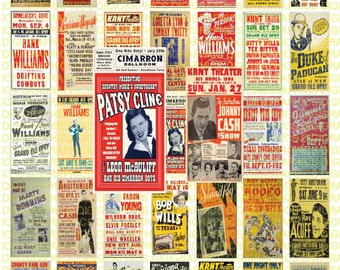 Vintage Country Music Posters 1X2 Domino Sized print out digital sheet.