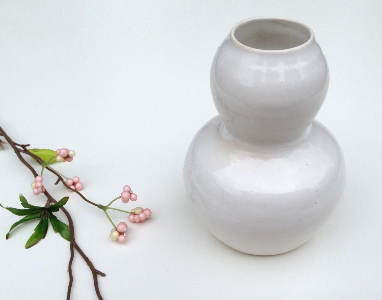 White Double Bubble Vase Modern Ceramic Home Decor Modern