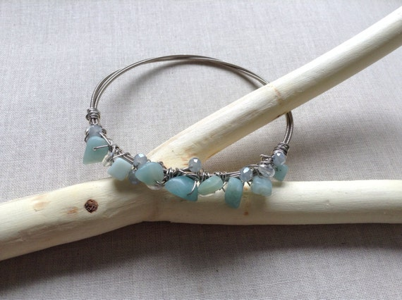amazonite bracelet guitar string jewelry by saltysparrowdesigns. Black Bedroom Furniture Sets. Home Design Ideas