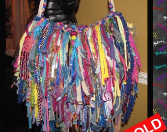 Upcycled Fringe Handbag,Playful Funky,Mixed Colors,Bling,Sparkle,Beads,Bag,Custom Made,One Of A Kind,Hippie,BoHo,Funky,Purse,Tote
