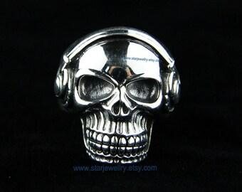 Steampunk DJ Skull ring Rambler skull ring ---925silver ring