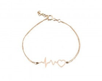 14K Solid Gold Heartbeat Bracelet,Mothers Day,Wife,Besfriend,Romantic,Cardio Jewery,Love Necklace,Mom Jewelry,Doctor Gift,Nurse Gift