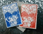 Eternal Sunshine of the Spotless Mind handmade linocut monoprint greeting card
