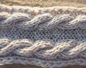 20%OFF, Gray knit headband, Cabled Chunky Wool Ear Warmer