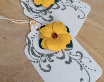 Set of 2 yellow hydrangea gift tags