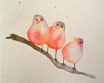 Three Little Birds watercolor painting