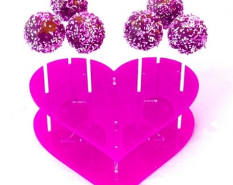 Heart Shaped Solid Pink Acrylic Cake Pop Stand - 2 Sizes Available
