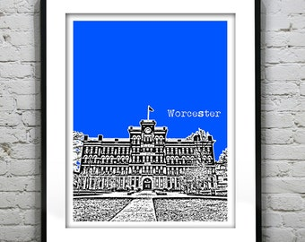 Worcester Massachusetts Skyline Poster Art Print MA