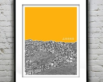 Amman Jordan Skyline Poster Art Print Middle East