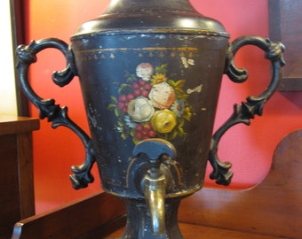 Victorian Tole Painted Urn