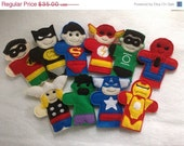 Will NOT Ship for Easter Complete set heroes finger puppets