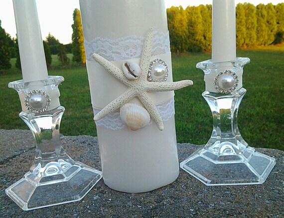 Ivory Sea Shell Beach Wedding Ceremony Unity Candle Set Brooch
