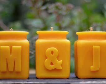 Monogrammed Beeswax Letter Candles Set of 3, Wedding or Anniversary Gift Set, Your Initials or Spell Words Table Numbers