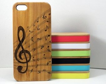 Treble Clef iPhone 5C Case. Music Notes. Musician Band Orchestra Songwriter Jazz Choir. Eco-Friendly Bamboo Wood Cover Skin. iMakeTheCase