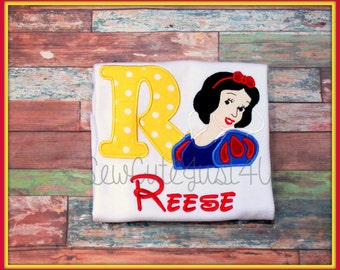 Snow White Themed Birthday Number or Initial Shirt