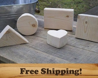 Wood Block Variety, Unfinished for Arts & Crafts, Set of 10