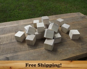 15 Poplar Wood Blocks, All Natural Baby blocks, Baby Shower Activity, 1.75 Inch Square Wooden Building Block Set