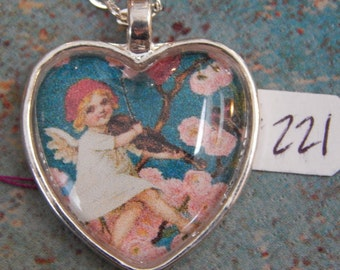 Cupid Heart Necklace Key Ring #96