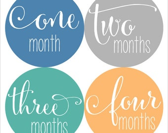Baby Monthly Stickers, Monthly Baby Boy Stickers, Baby Month Milestone Stickers - Baby Boy, Boy, Baby Shower Gift