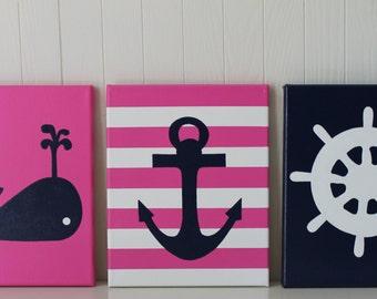 Baby Girl Nautical Nursery, Baby Girl Whale, Navy Pink Nursery, Navy Pink Nautical, Baby Whale, Nautical Decor, Nautical Nursery