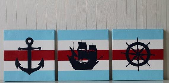 Ähnliche artikel wie piraten kinderzimmer decor nautische ... - Kinderzimmer Rot Blau
